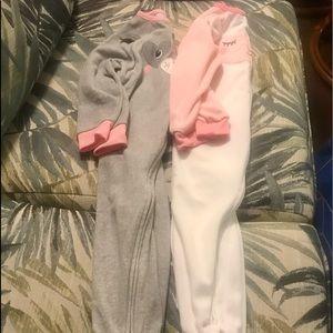 Bundle of 2 Fleece Footed Zip Up Sleepers 24 mo